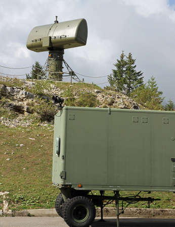 military radar to search for enemy vehicles installed in a secret base military army