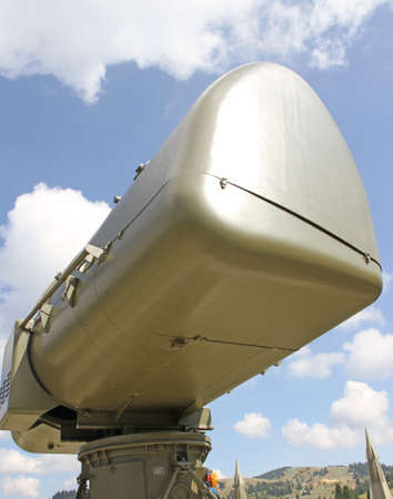 military green camouflage huge radar for reconnaissance of enemy planes during the war 3