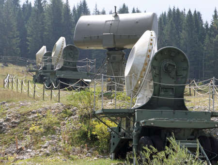 number of camouflaged radar in a secret army military base during the war