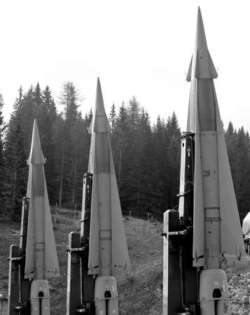 three deadly missiles with nuclear warhead poised to launch from a military base 2 Stock Photo - 22051873