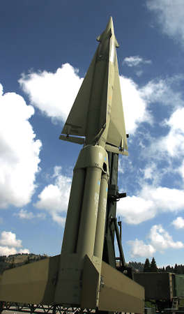 rocket with military explosive warhead for the war and blue sky Stock Photo - 22051886