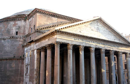 historian: ancient Roman temple called the PANTHEON in Rome outside Stock Photo