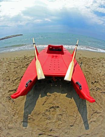 recanati: rescue boat to rescue survivors who are about to drown Stock Photo