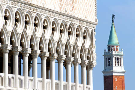 high Bell Tower of San Giorgio and the glorious  Palazzo ducale in Venice Italy 4 photo