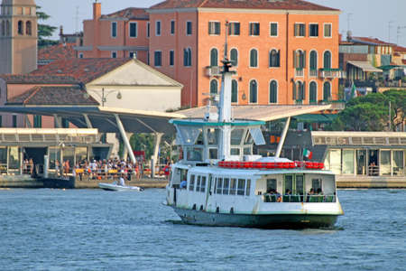 ferryboat: vaporetto in Venice for the transportation of tourists on St. Marks basin Stock Photo