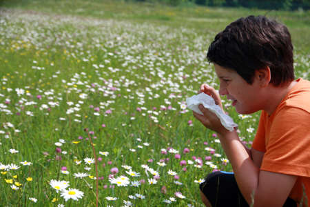 allergic child to pollen and flowers with a handkerchief while sneeze in the middle of meadow Stock Photo