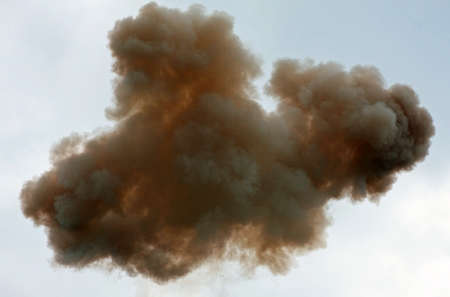 nuclear explosion: toxic cloud in the sky after the explosion of a chemical products factory Stock Photo