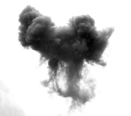 bomb explosion: dense black cloud caused by an explosion of a bomb in the sky Stock Photo