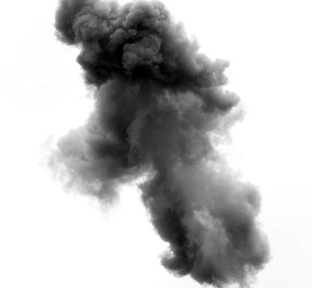dense black cloud caused by an explosion of a bomb in the sky Stock Photo