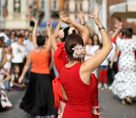 flamenco dancers expert and Spanish dance with elegant period costumes Stock Photo - 22412277