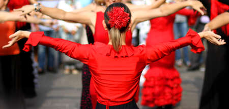 flamenco dancers expert and Spanish dance with elegant period costumes photo