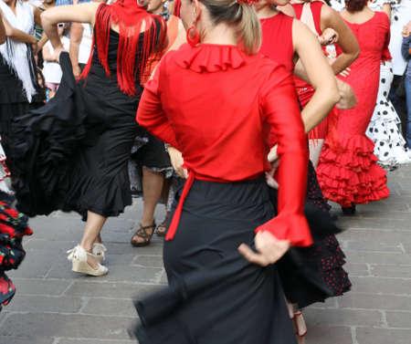 flamenco: flamenco dancers expert and Spanish dance with elegant period costumes