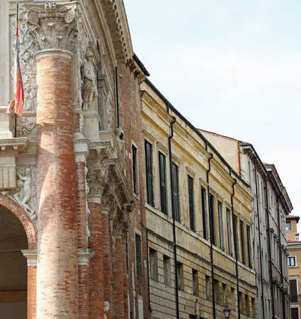 panoramic glimpse of a Northern Italian town of Roman origins with historic buildings