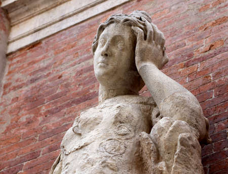marble statue with headaches with red brick  Stock Photo - 22412316
