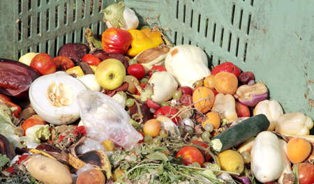 pile of broken fruit and vegetables to throw used as manure photo