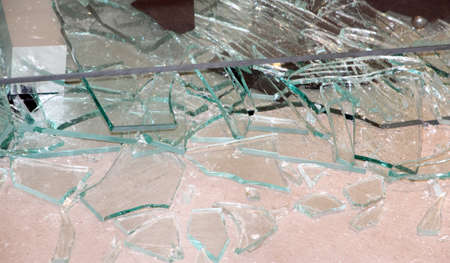broken glass and shards of glass jars photo