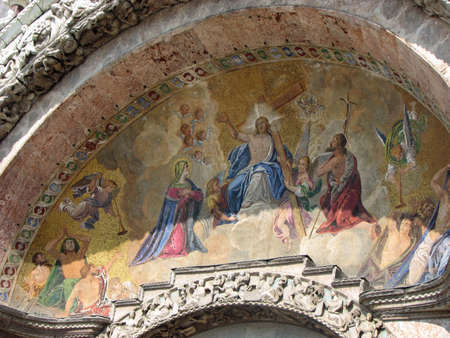 patriarchal: mosaic with Jesus on the facade of the Holy basilica in piazza san marco in Venice