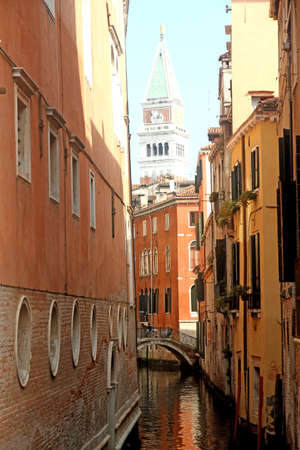 bell tower of san marco in the midst of the houses overlooking the Canal in Venice Stock Photo - 22557618
