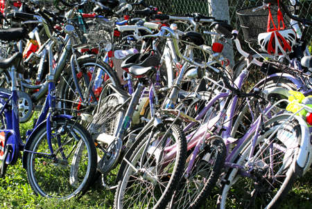 parking of many bicycles by students in school