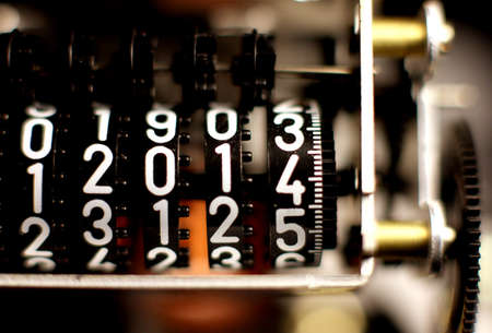numerator: counter with the new year 2014 in the numerator measuring meter Stock Photo