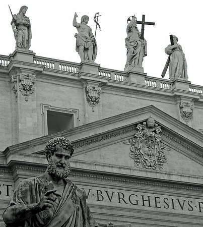 st peter: Statue of St. Peter in front of the basilica in Vatican City in black and white