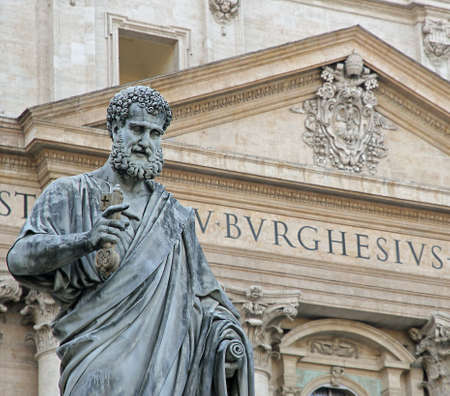 St. Peter with the keys of heaven in front of the Basilica in the Vatican photo