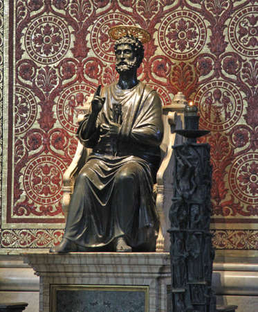 st peter: precious bronze statue of St. Peter in the Basilica in Vatican City