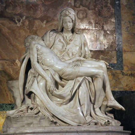 marble statue called the Pieta by Michelangelo with The Madonna and Jesus died in your arms photo