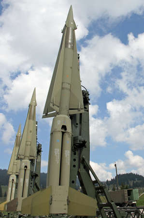 powerful military intercontinental missiles ready for launch from the launch base in the mountains