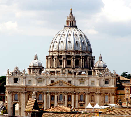 francesco: majestic dome of St. Peters basilica in Vatican City Stock Photo