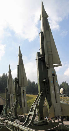 armament: military intercontinental missiles ready for launch from the launch base in the mountains Editorial