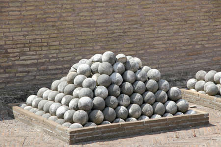 a war historian: marble cannon balls to Castel SantAngelo in Rome, Italy