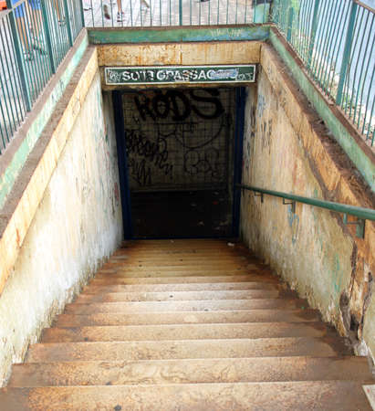 drunks: old abandoned railroad underpass venue of drug addicts and drunks
