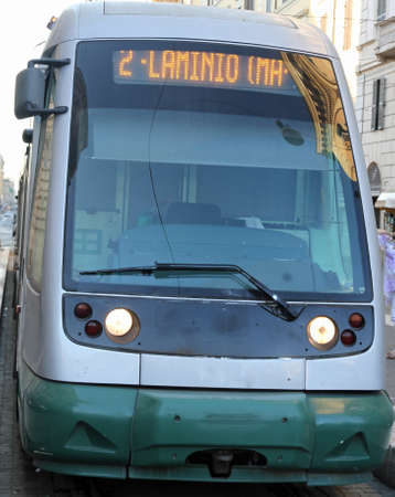 modern trams in the city of Rome flaminio station catch one of the busiest railway stations in Rome Stock Photo