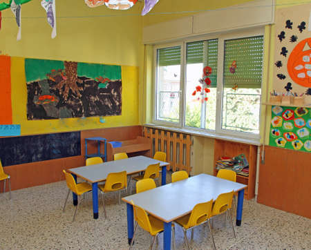 room where children learn to draw in a private preschool nursery Stock Photo