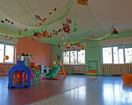 game show by a kindergarten without children