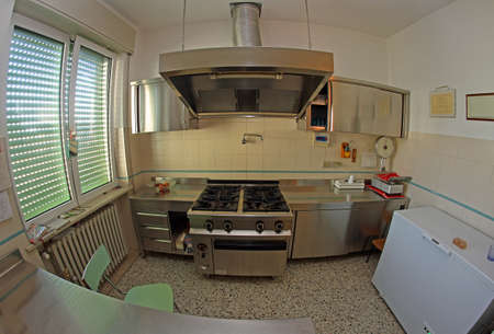 restaurateur: stainless steel industrial kitchen for preparing meals of the children in the school canteen Stock Photo