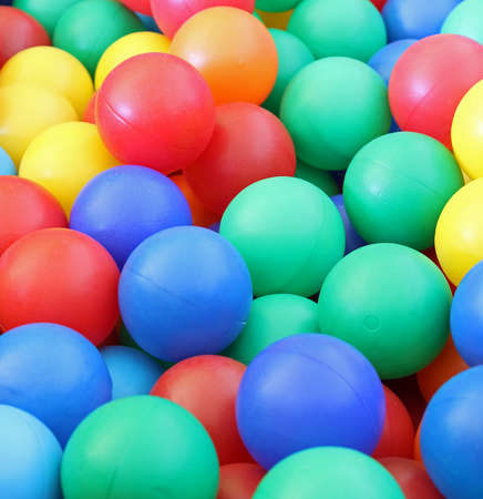macro closeup of brilliant colored plastic balls photo