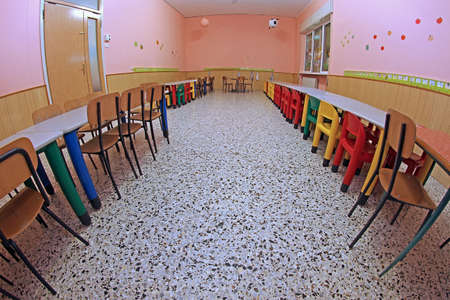 refectory of a nursery without children photographed with fisheye lens photo