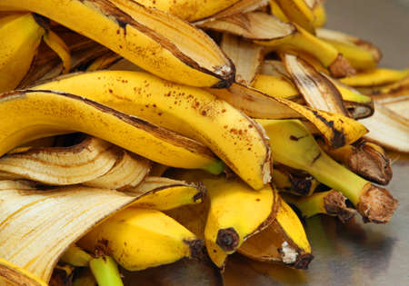 many yellow banana peels just Peel to store organic waste Foto de archivo