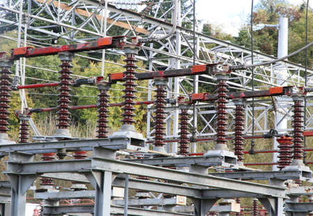 powerhouse: huge Electrical insulators of a  electricity power station
