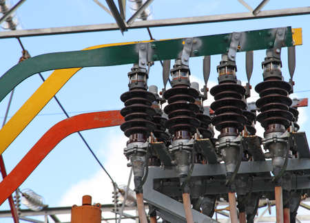 electric current: large current isolators with copper bars for electric power in a power plant Stock Photo