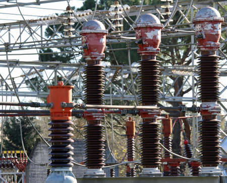 electromagnetism: particular current switches a large State-of-the-art power plant Stock Photo