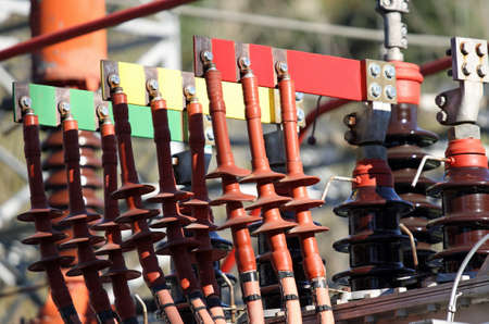 busbar: connection between connectors copper Busbar and poles of a transformer of a powerhouse of energy production