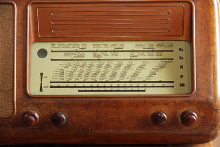 sports programme: transistor radio 1950 years in Burr walnut and the stations names Stock Photo