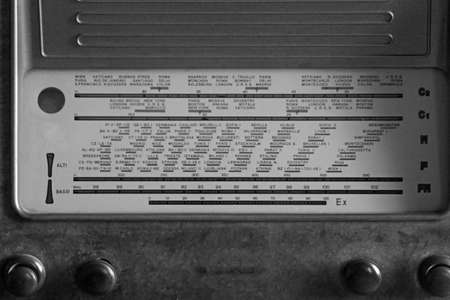 sports programme: glorious Italian superheterodyne transistor radio under the name of radio stations and the adjustment knobs