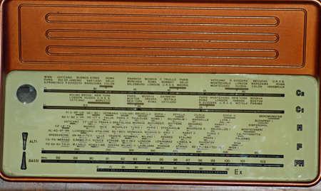 walnut burl: tab of radio stations of the last century in an transistor radio with Walnut Burl Panel