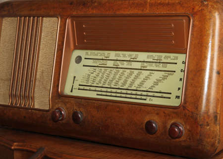 sports programme: table of radio stations of the last century in an old transistor radio with Walnut Burl Panel