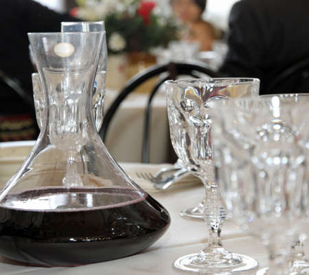 Decanter With Red Wine In A Table With Many Glass Of Fine Bohemian.. Stock  Photo, Picture And Royalty Free Image. Image 24022827.