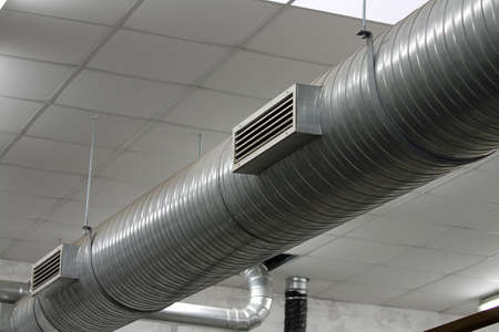 stainless steel pipes of the heating system within an industry location Stock Photo - 24106674